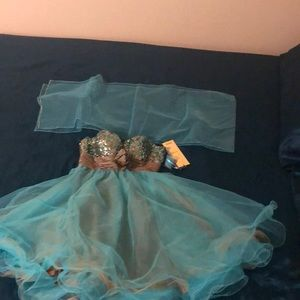 Beautiful teal and brown dress perfect for prom